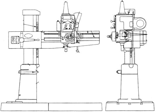 cincinnati 3 u0026 39  arm 7 u0026quot  column radial drill operator  u0026 parts manual