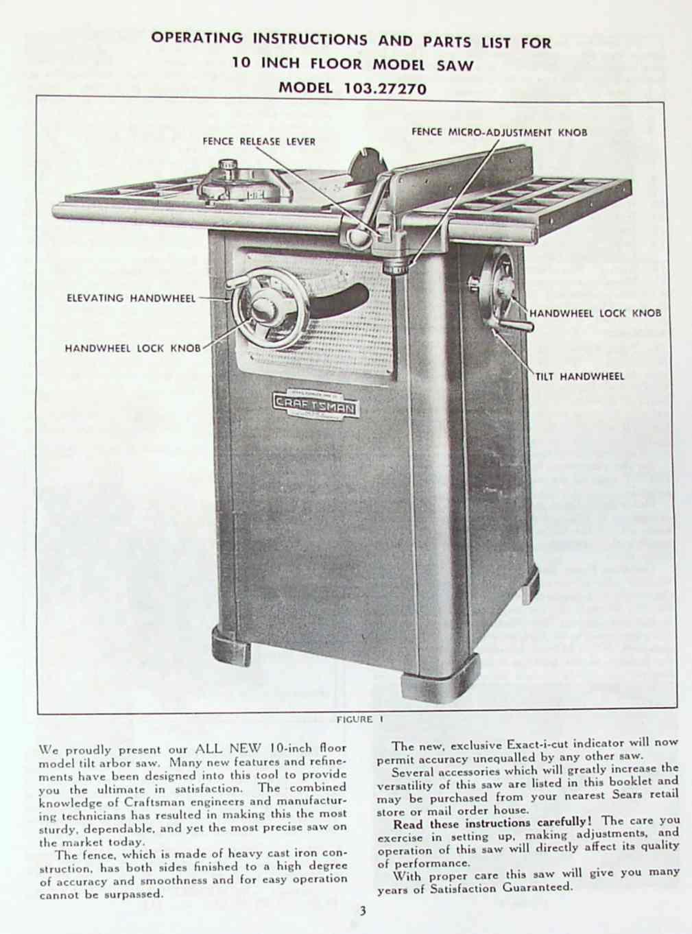craftsman 10 table saw operator parts manual. Black Bedroom Furniture Sets. Home Design Ideas