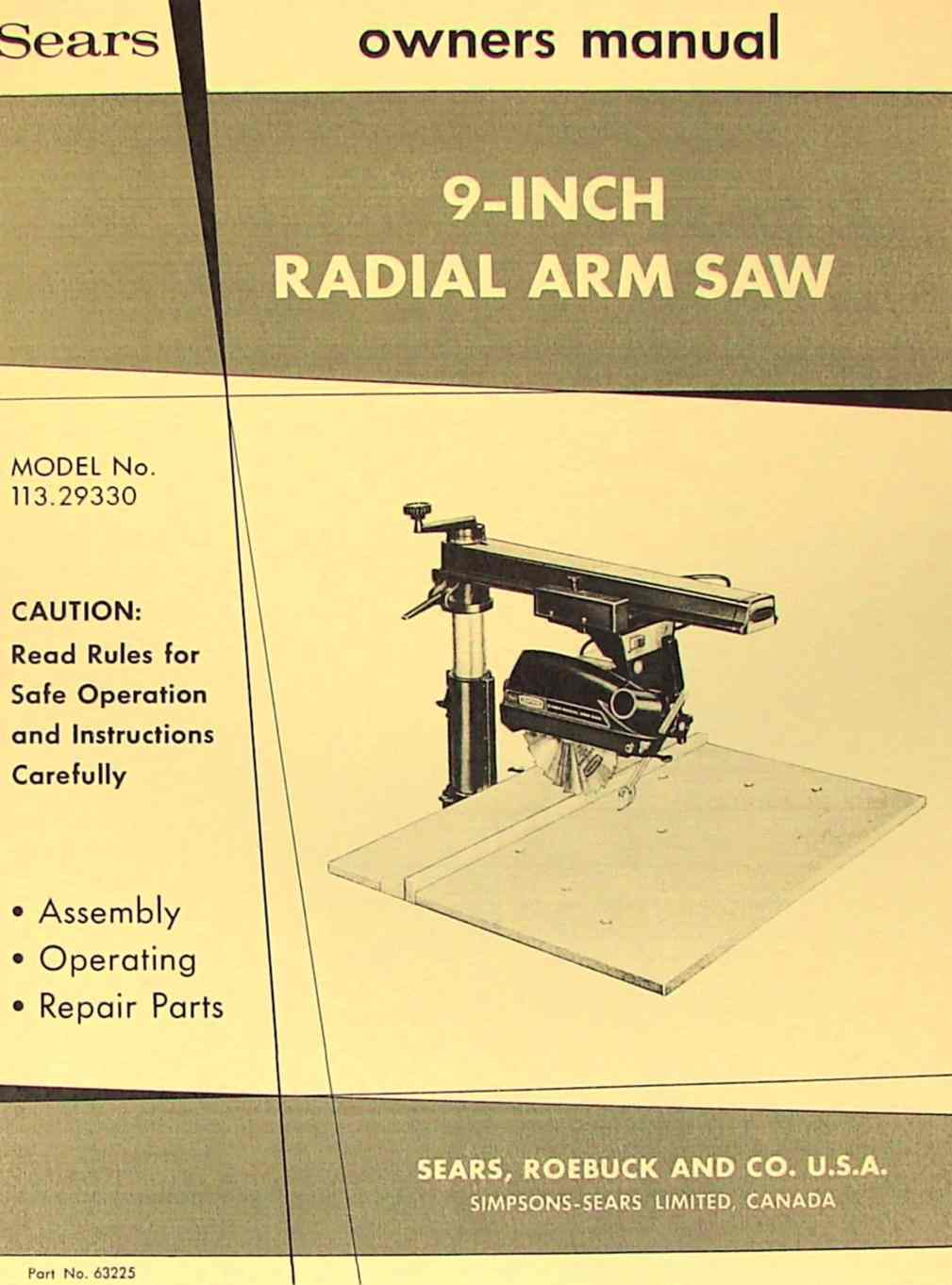 Craftsman 113 29330 9 Quot Radial Arm Saw Operator Amp Parts