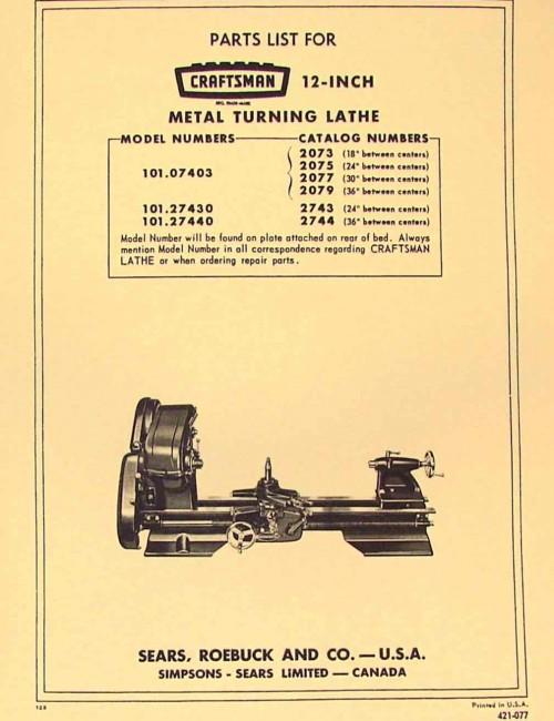 "CRAFTSMAN-ATLAS 12"" Lathe 101.07403, 101.27430, 101.27440 Parts Manual | Ozark Tool Manuals & Books"