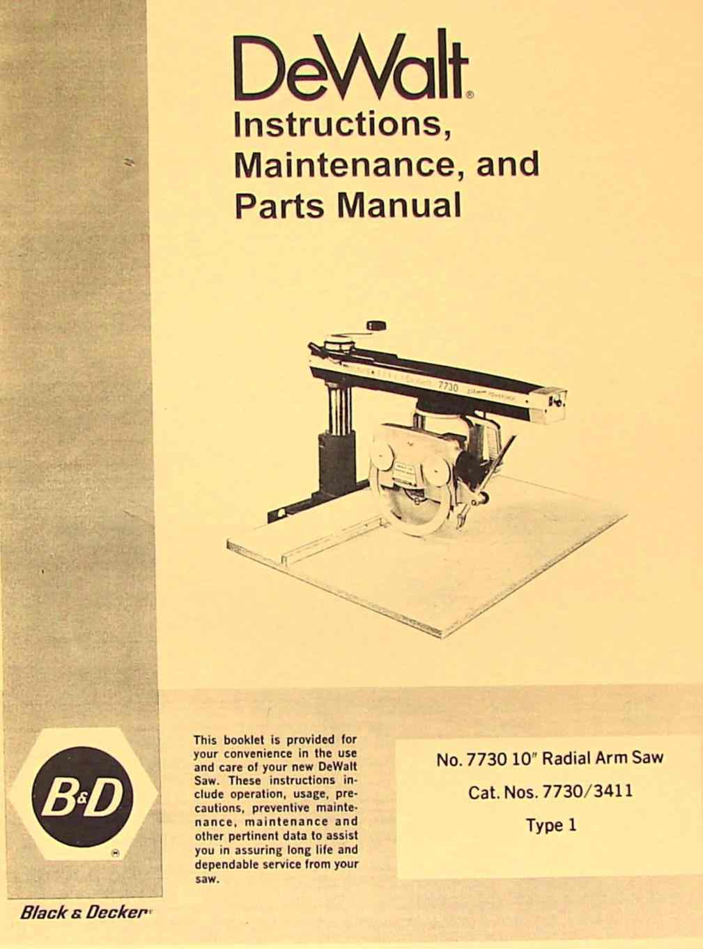 Dewalt Powershop 7730 10 U0026quot  Radial Arm Saw Instruction