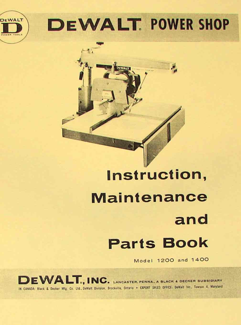 0262 dewalt power shop 1200 & 1400 radial arm saw instructions & parts  at panicattacktreatment.co