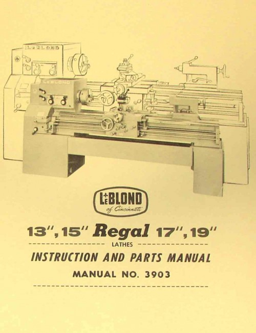 leblond regal lathe manual ozark tool leblond regal 13 15 17 19 lathe manual 3903 ozark tool manuals books