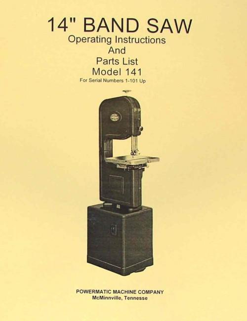 Powermatic 141 14 Quot Band Saw Operating Parts Manual Ozark