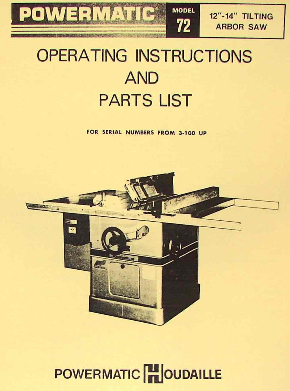 Powermatic 72 Arbor Table Saw Operator Parts Manual Ozark Tool Manuals Books