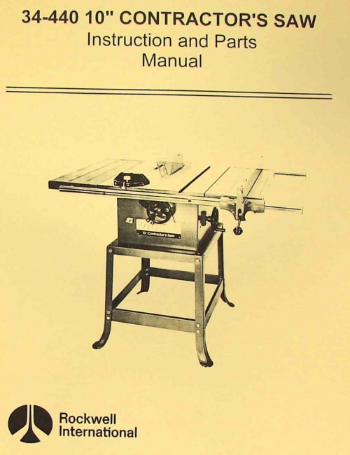 rockwell 34 440 10 quot contractor s saw parts manual ozark tool manuals books