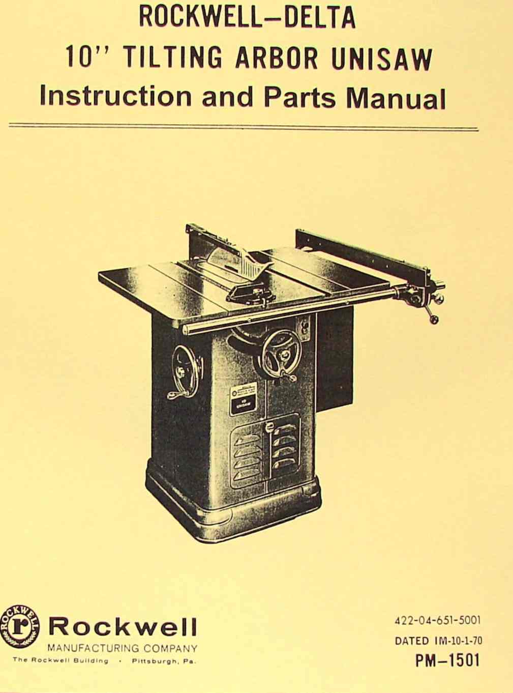 ROCKWELL    Older 10  Unisaw    Table       Saw    Part Manual 34450