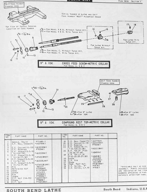 south bend 9 u0026quot   u0026 10 u0026quot  metal lathe parts manual and catalog
