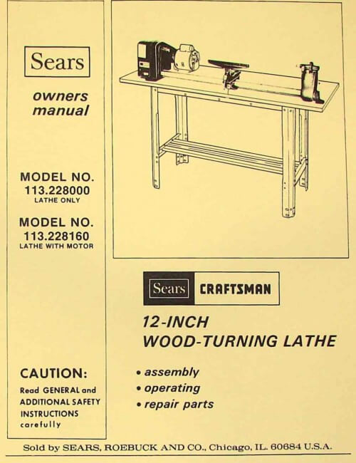 craftsman 113 228000   113 228160 wood lathe owner s parts Standard Operating Manual Service Manuals