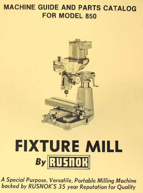 first milling machine parts manual