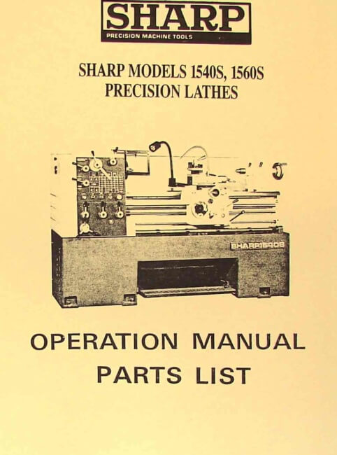 sharp 1540s 1560s metal lathes operator s parts manual ozark tool manuals books