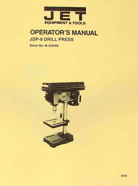"JET-Asian JDP-8 8"" Drill Press Owner's Operator's & Parts Manual   Ozark Tool Manuals & Books"