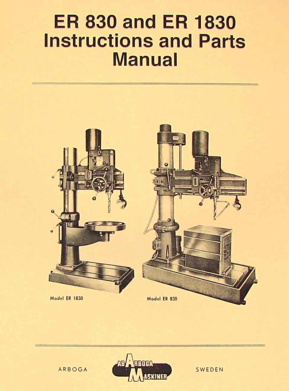 AB ARBOGA MASKINER ER 830 & ER 1830 Radial Drill Instructions & Parts Manual | Ozark Tool ...