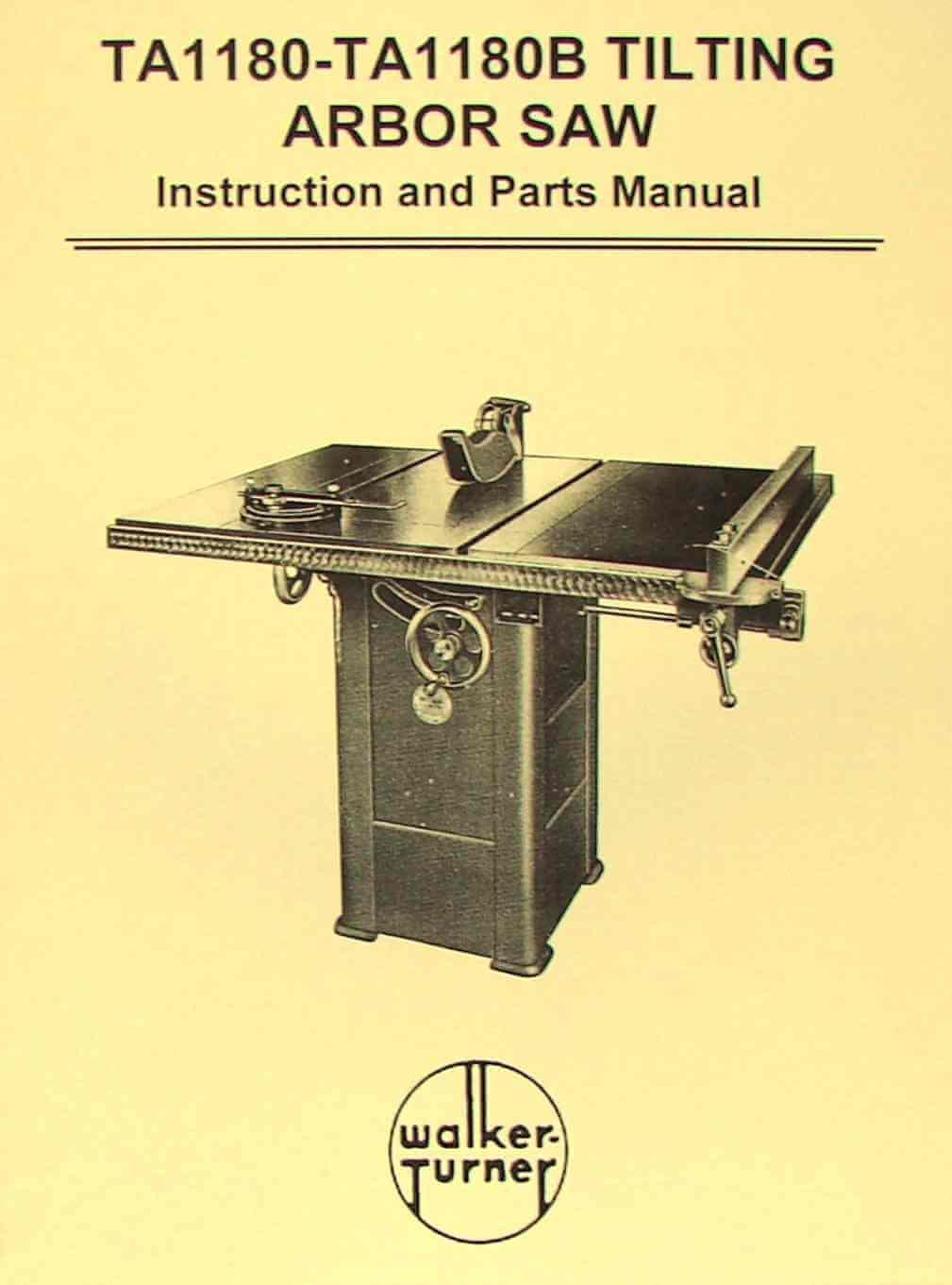 walker turner table saw manual
