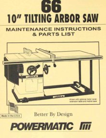 powermatic 63 10 quot artisan s table saw op part manual ozark tool manuals books