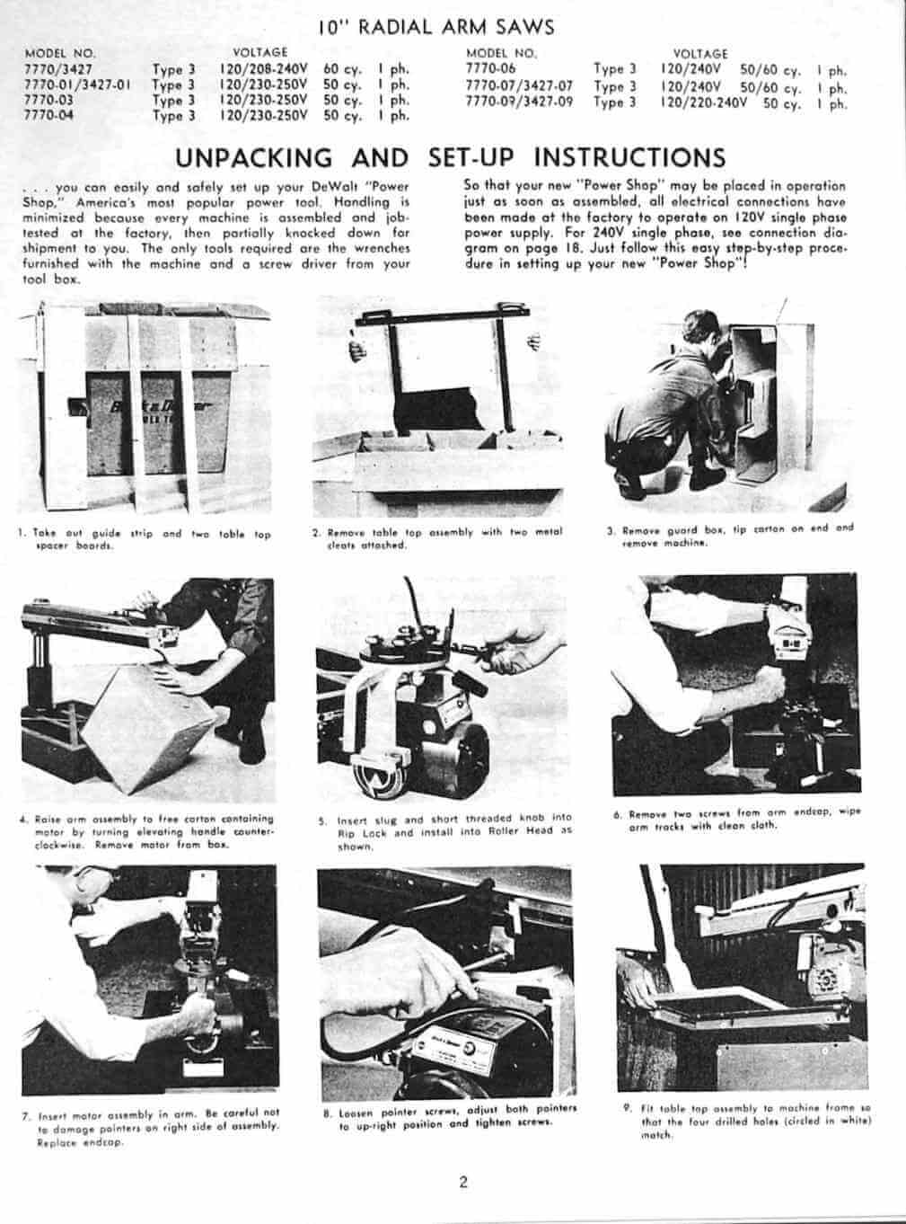 1026a dewalt 7770 10 inch radial arm saw owner's instructions and parts  at panicattacktreatment.co