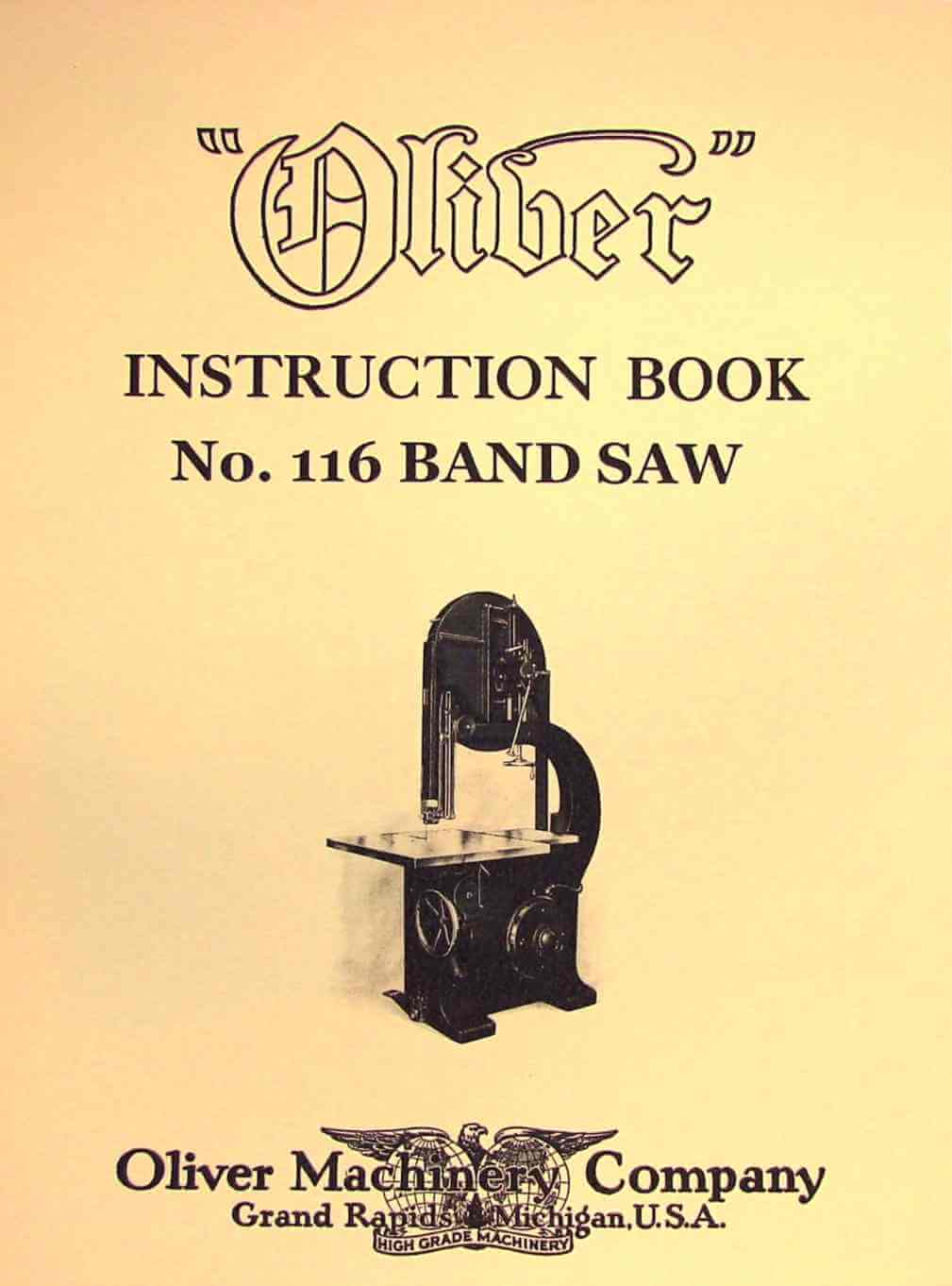 oliver no 116 36 band saw operating instructions and. Black Bedroom Furniture Sets. Home Design Ideas