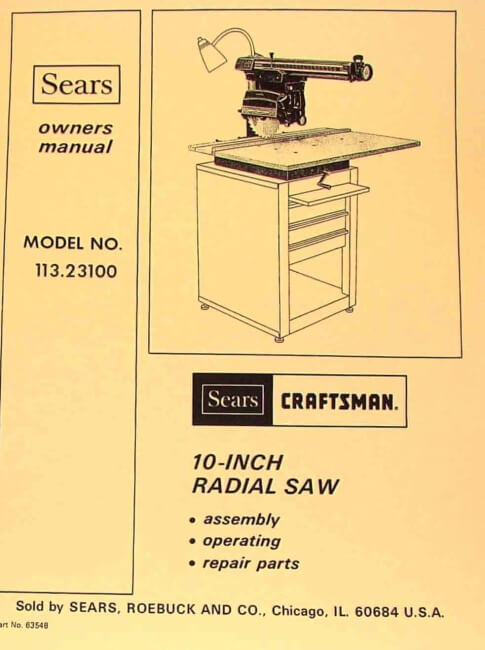 craftsman 10 quot  radial arm saw 113 23100 owners instructions User Manual Standard Operating Manual