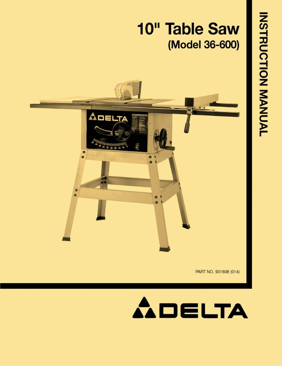 Delta 36 600 10 Table Saw Instructions Parts Owner 39 S Manual Ozark Tool Manuals Books