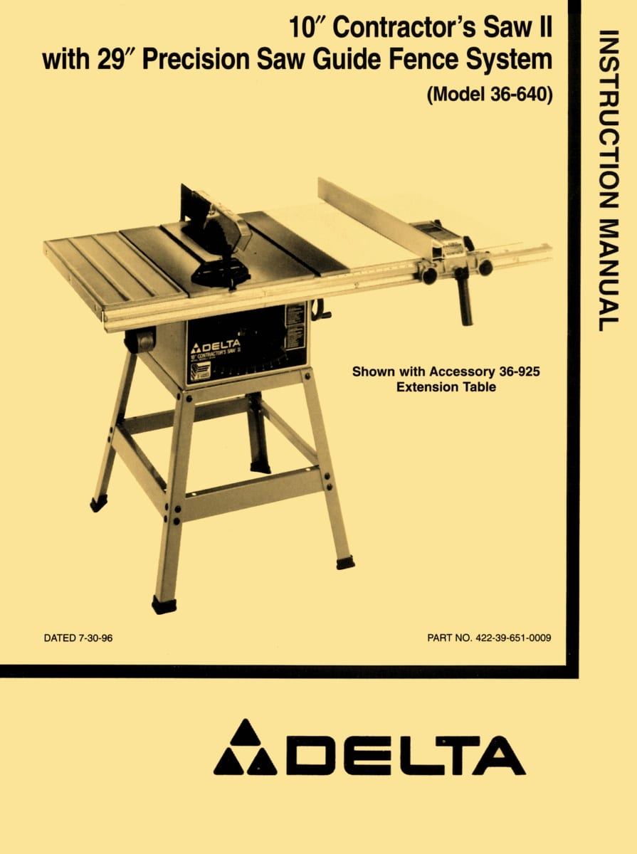 "DELTA 36-640 10"" Contractor Table Saw II Instructions ..."
