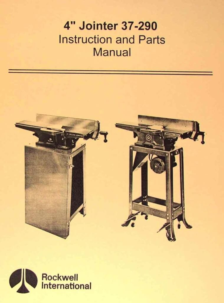 Rockwell 4 Quot Jointer 37 290 Operating Amp Parts Manual