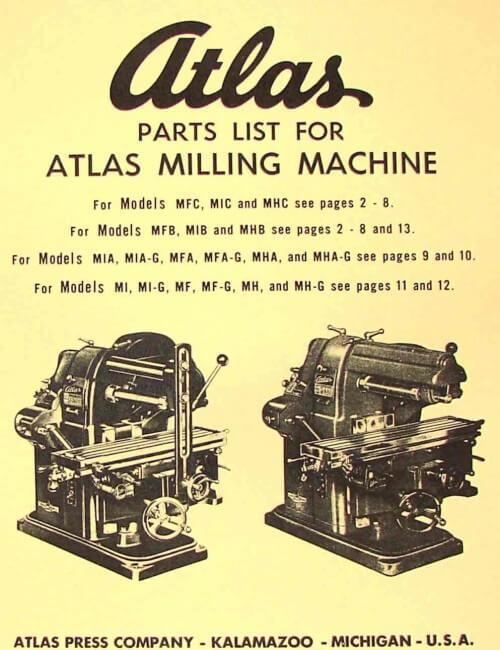 Atlas Horizontal Milling Machine Instructions Parts Manual All