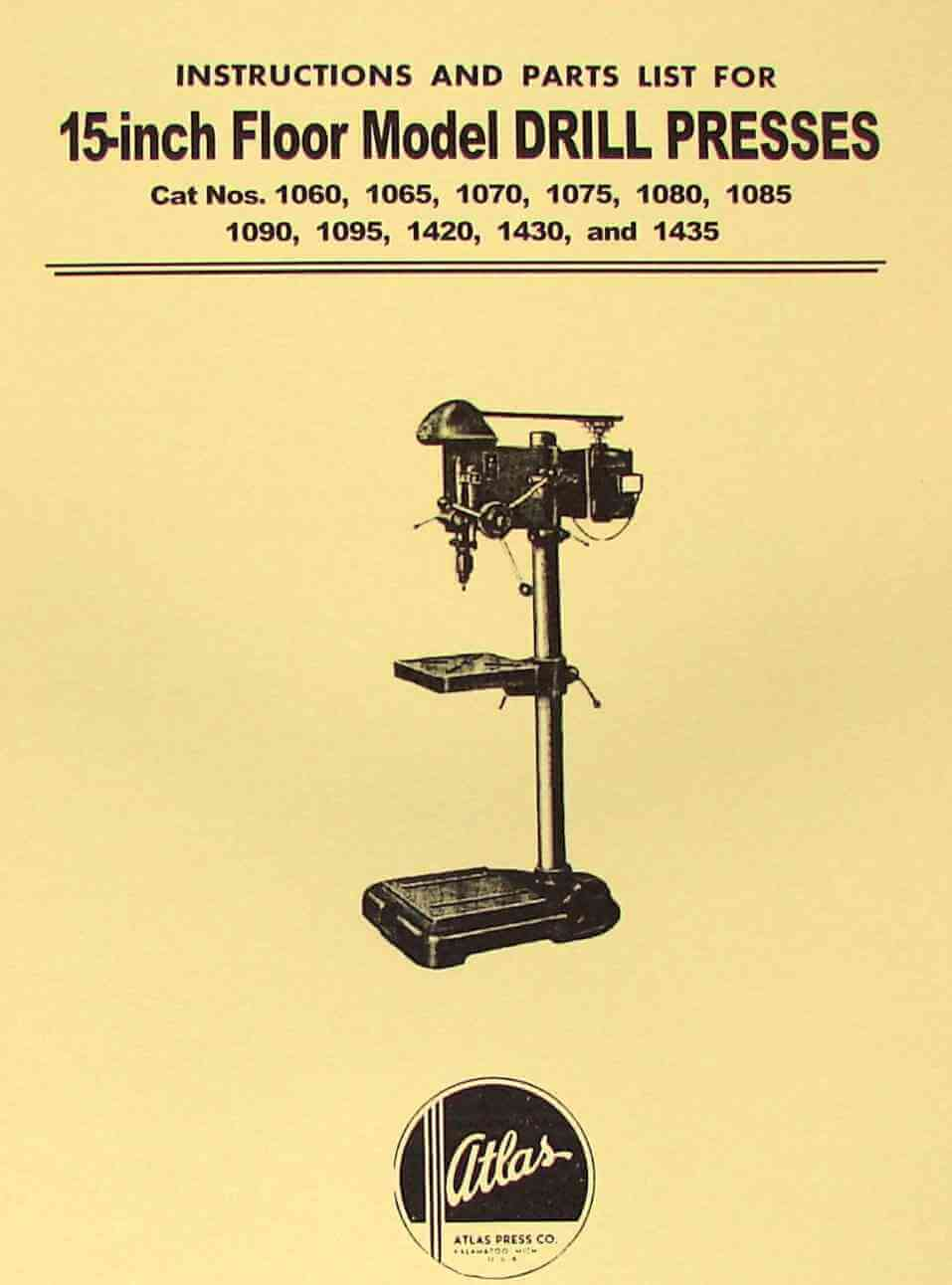 Atlas 15 Quot Drill Press Instruction And Parts Manual Ozark