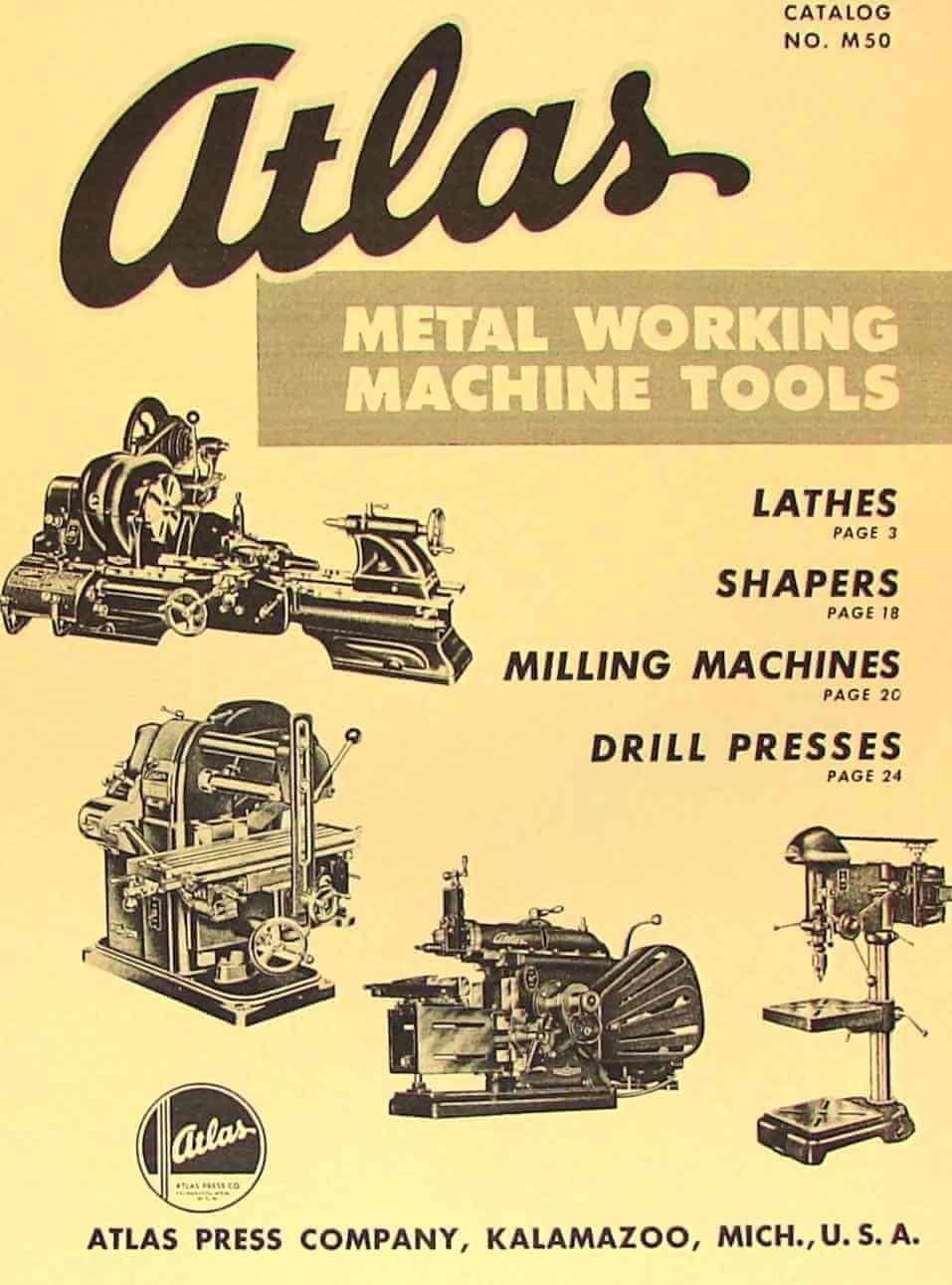 Atlas Press Co Lathe Shaper Mill Drill Press Catalog