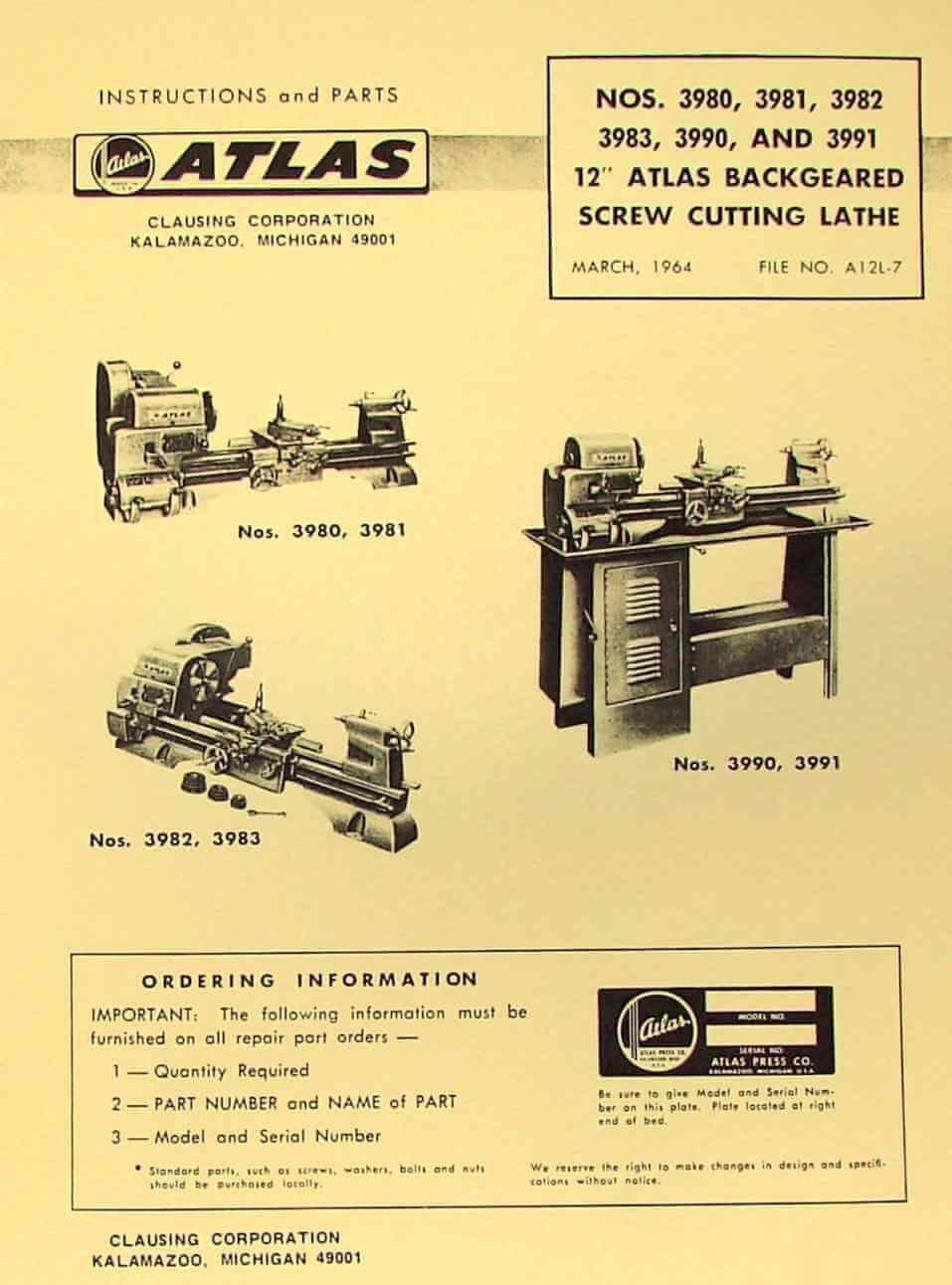 "ATLAS-CRAFTSMAN 12"" Metal Lathe 3980, 3981, 3982, 3983, 3990, 3991 Parts  Manual | Ozark Tool Manuals & Books"