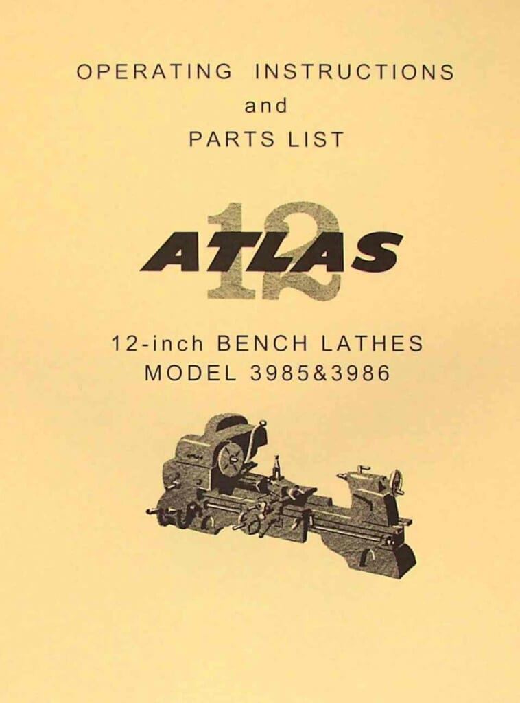atlas craftsman 3986 3985 12 metal bench lathe instructions and