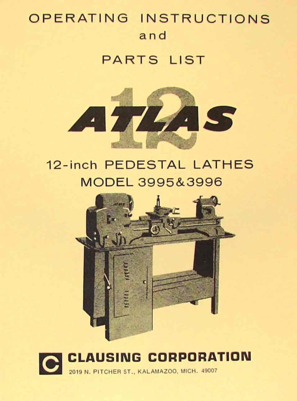 "ATLAS-CRAFTSMAN 12"" Pedestal Metal Lathe 3995 & 3996 Instructions & Parts  Manual | Ozark Tool Manuals & Books"