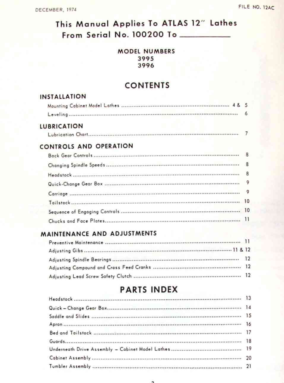 ATLAS-CRAFTSMAN 12″ Pedestal Metal Lathe 3995 & 3996 Instructions & Parts  Manual