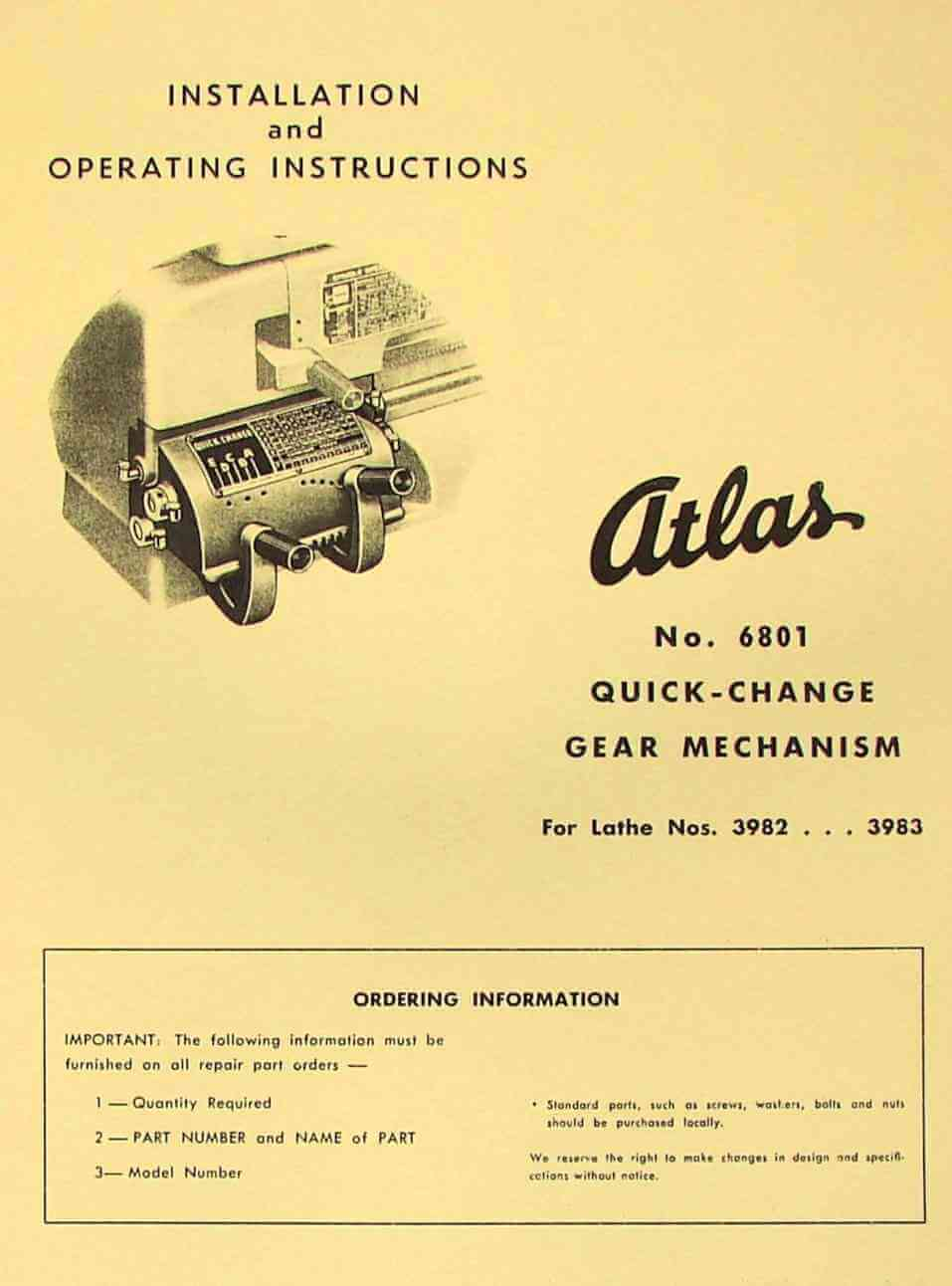 "ATLAS-CRAFTSMAN 12"" Newer Quick Change Gear Box Installation, Instructions  & Parts Manual 