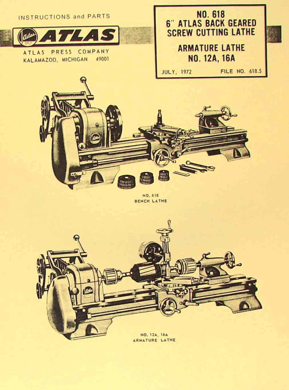 atlas-craftsman 6″ metal lathe no  618 instructions & parts manual