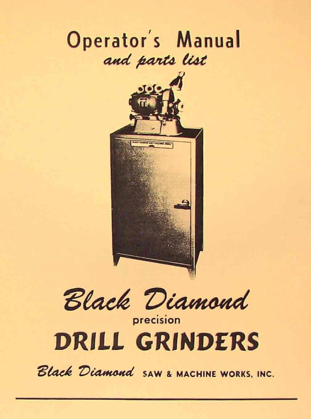 BLACK DIAMOND Drill Grinder No. 1,2,3 Instruction & Parts Manual | Ozark Tool Manuals & Books