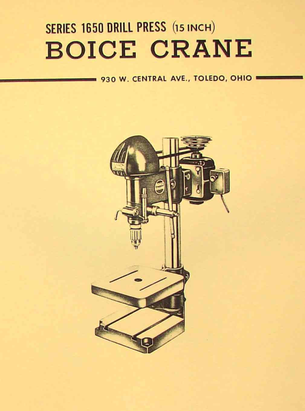 "BOICE CRANE 1650 15"" Drill Press Operator Part Manual   Ozark Tool Manuals  & Books"