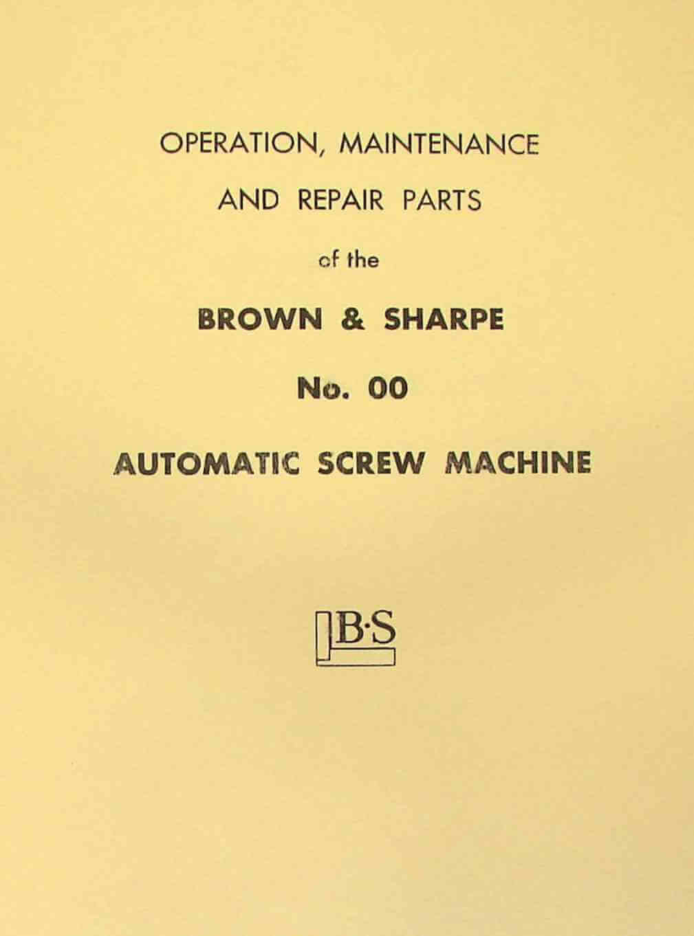 BROWN & SHARPE 00 Automatic Screw Machine Instructions & Parts Manual |  Ozark Tool Manuals & Books