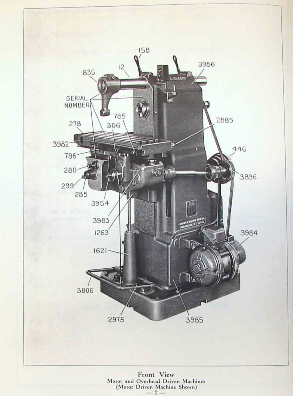 BROWN & SHARPE No. OY Plain Horizontal Milling Machine Parts Manual | Ozark Tool Manuals & Books