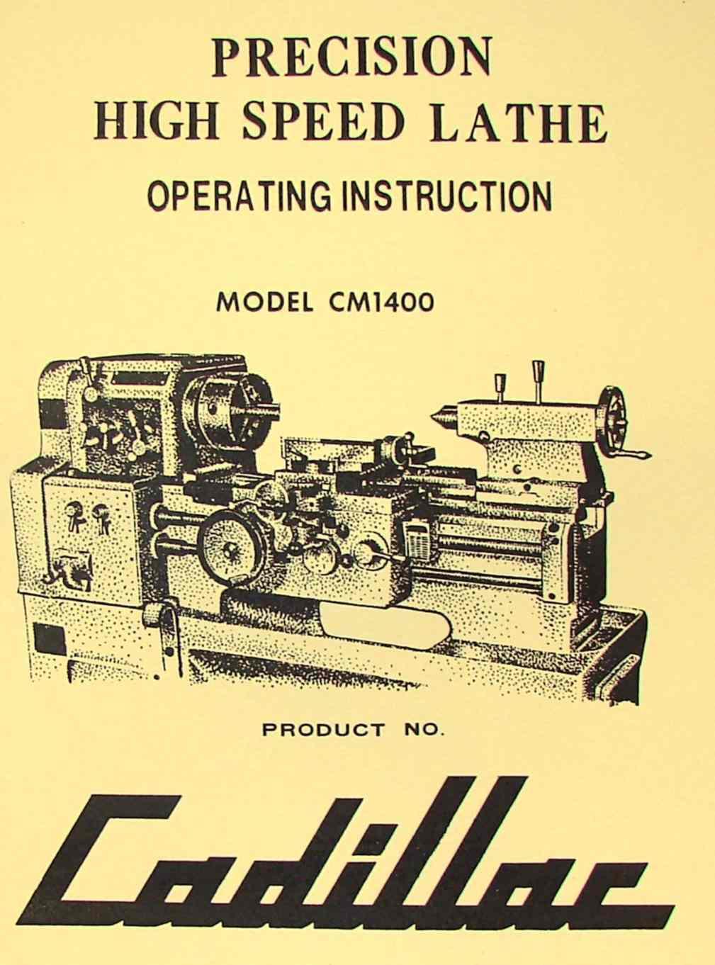CADILLAC 14 inch Lathe CM1400 Instruction Manual | Ozark Tool Manuals &  Books