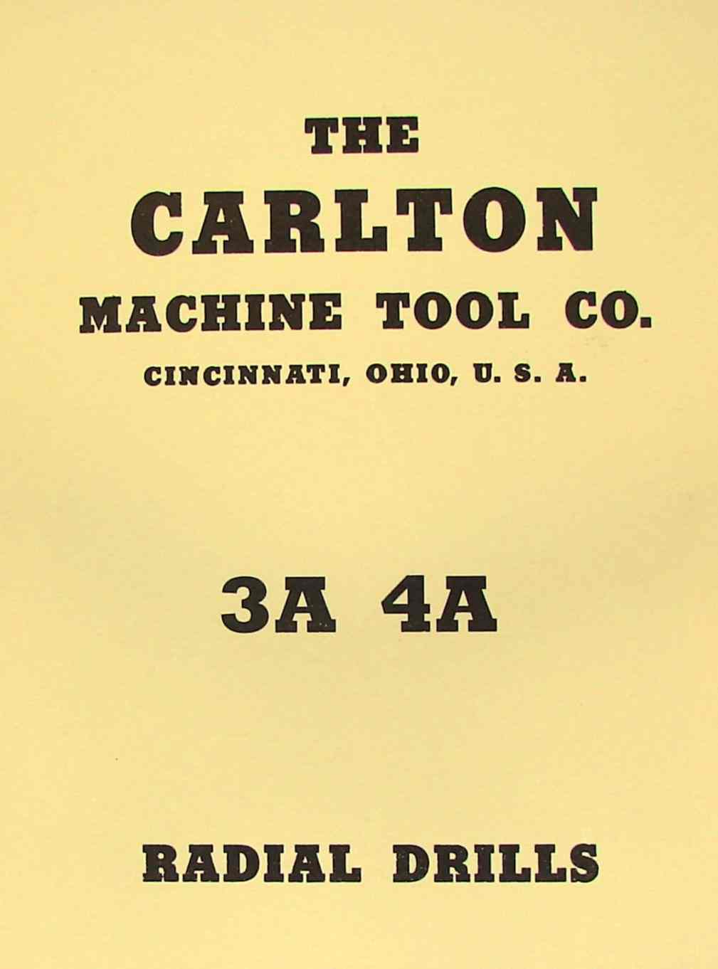 "CARLTON 3A & 4A Radial Drill Parts Manual with Columns 11""-19"" 