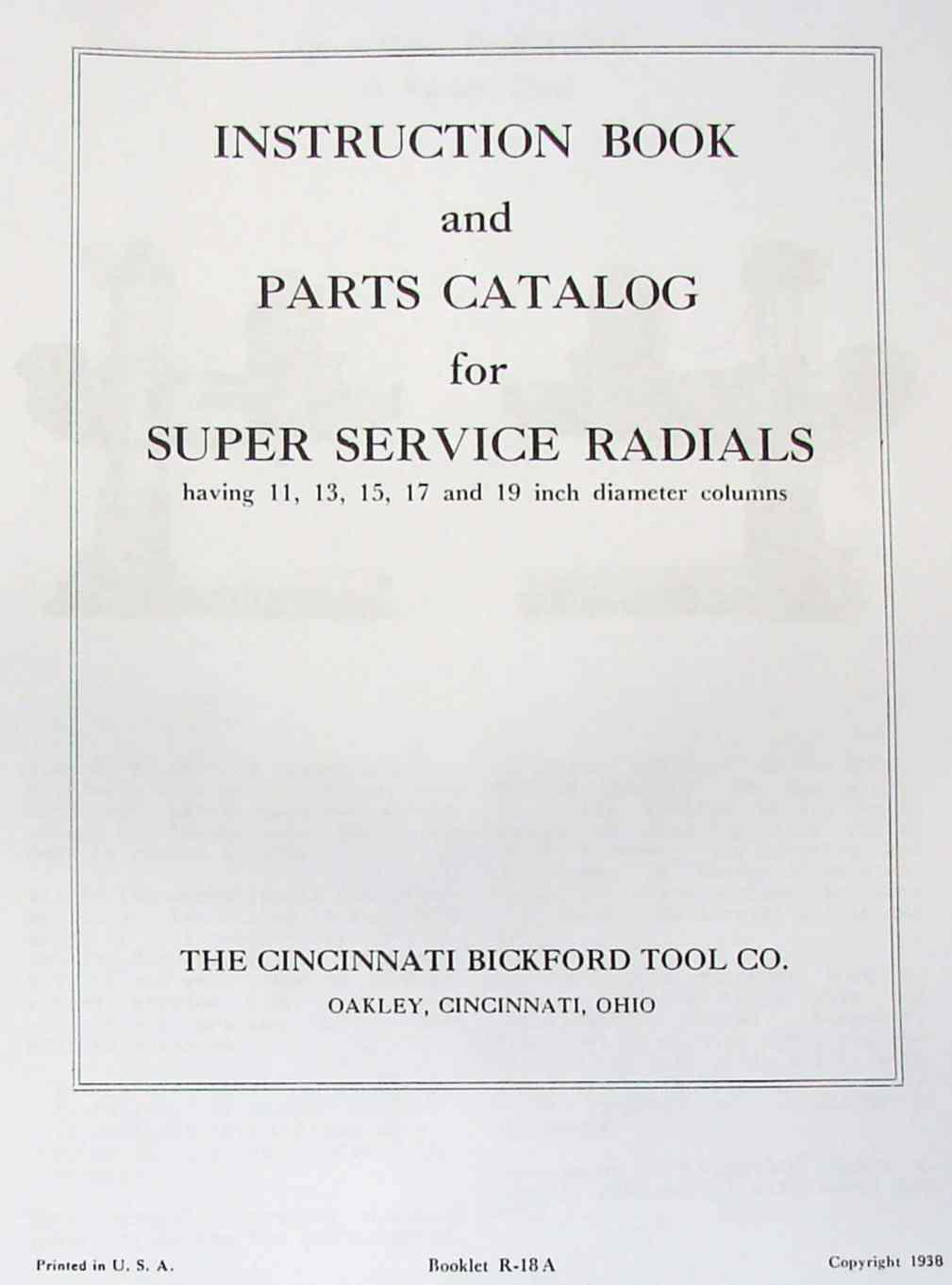 CINCINNATI Bickford Super-Service Radial Drill Operator & Parts Manual 1938