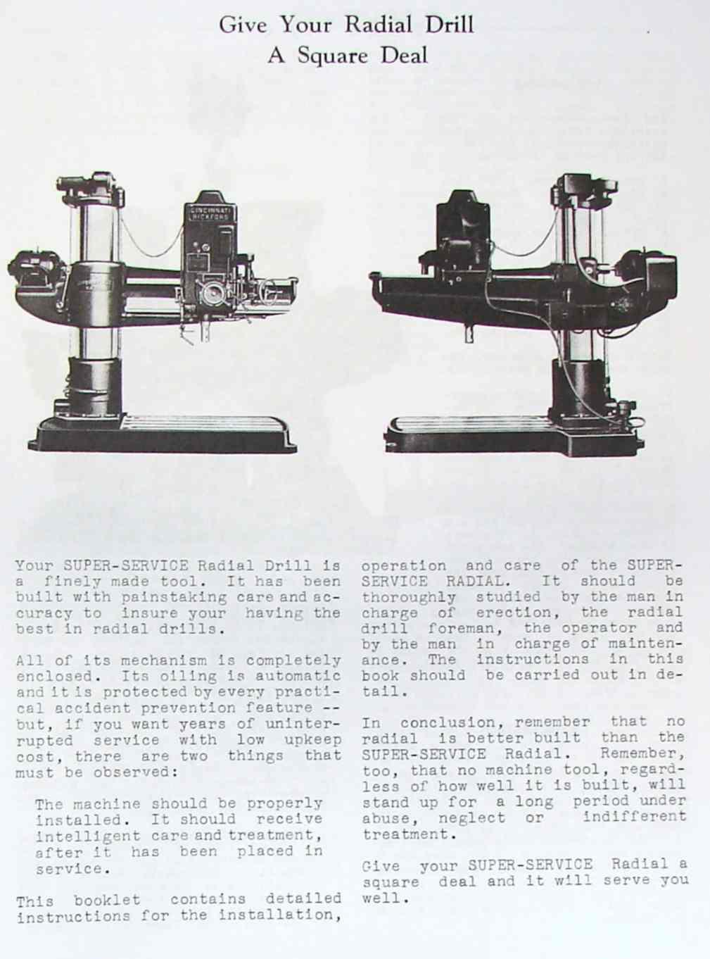 cincinnati bickford super service radial drill operator parts rh ozarktoolmanuals com Radial Arm Drill Radial Arm Drill