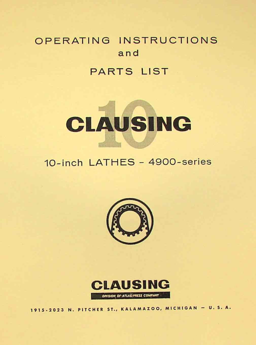 "CLAUSING 10"" Metal Lathe 4900 Series Instruction & Parts Manual 