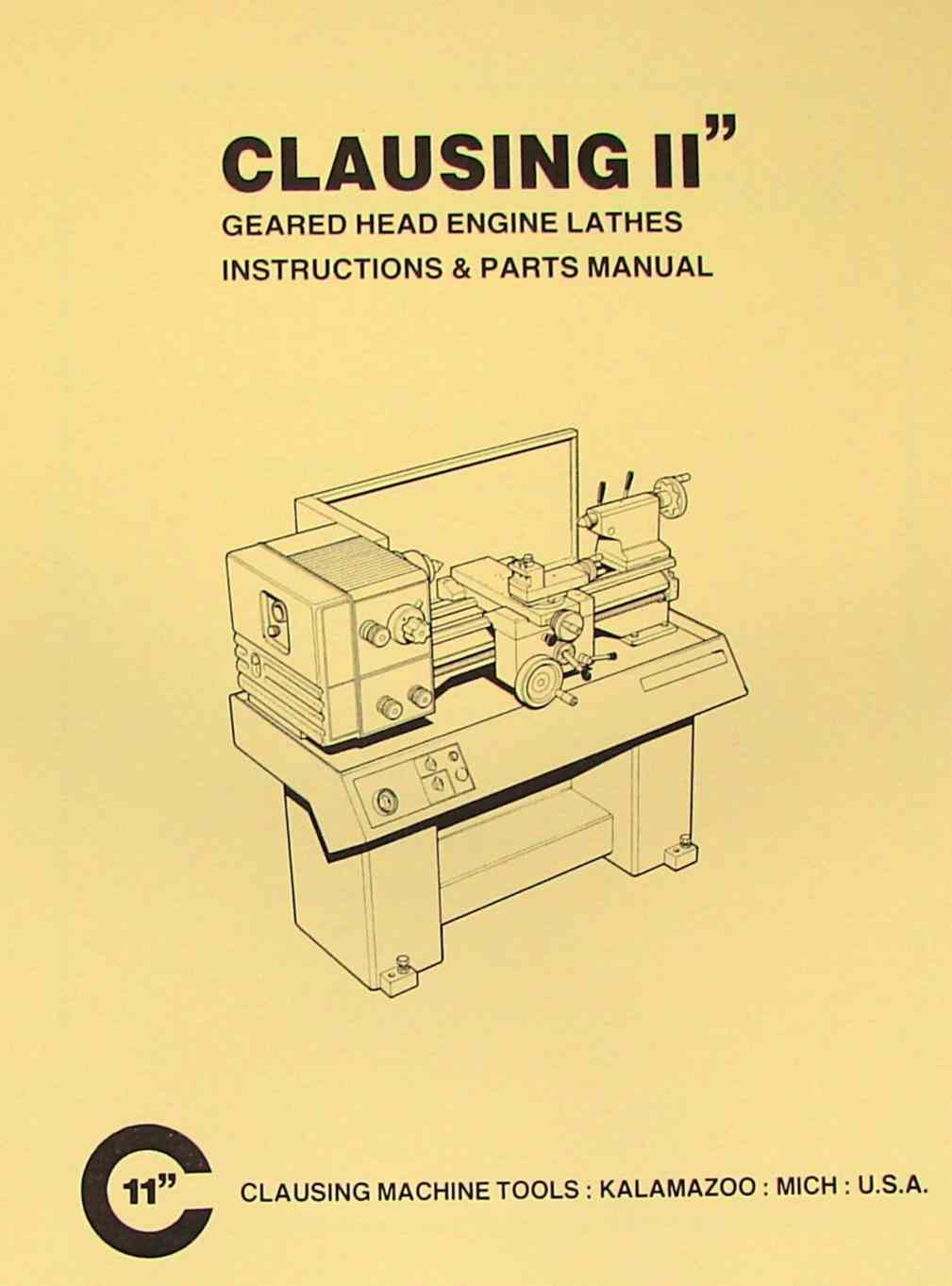 Clausing 11 Inch Metal Lathe Instructions Parts Manual Ozark Wilton Vise Diagram Tool Manuals Books