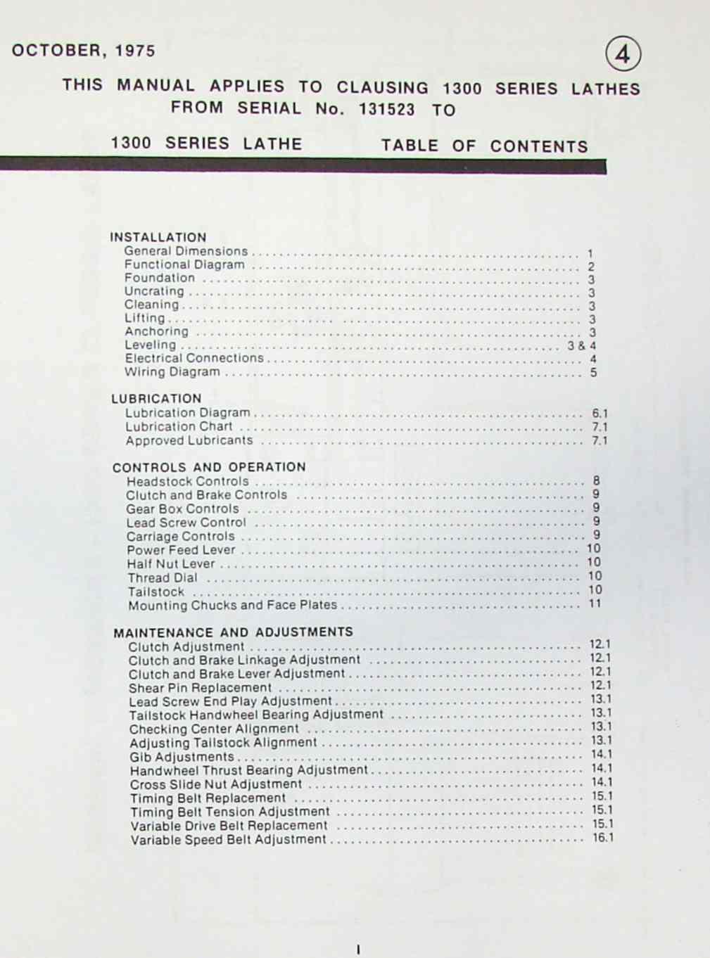 Clausing 1300 1301 Metal Lathe Operator Parts Manual Sh Ozark Wiring Diagram