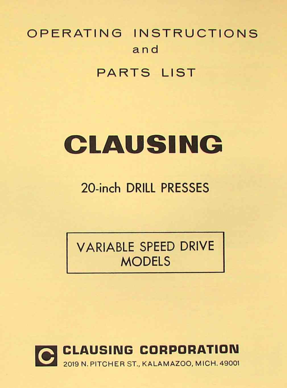 CLAUSING 20 inch Variable Speed Drill Press Operator & Parts Manual | Ozark  Tool Manuals & Books