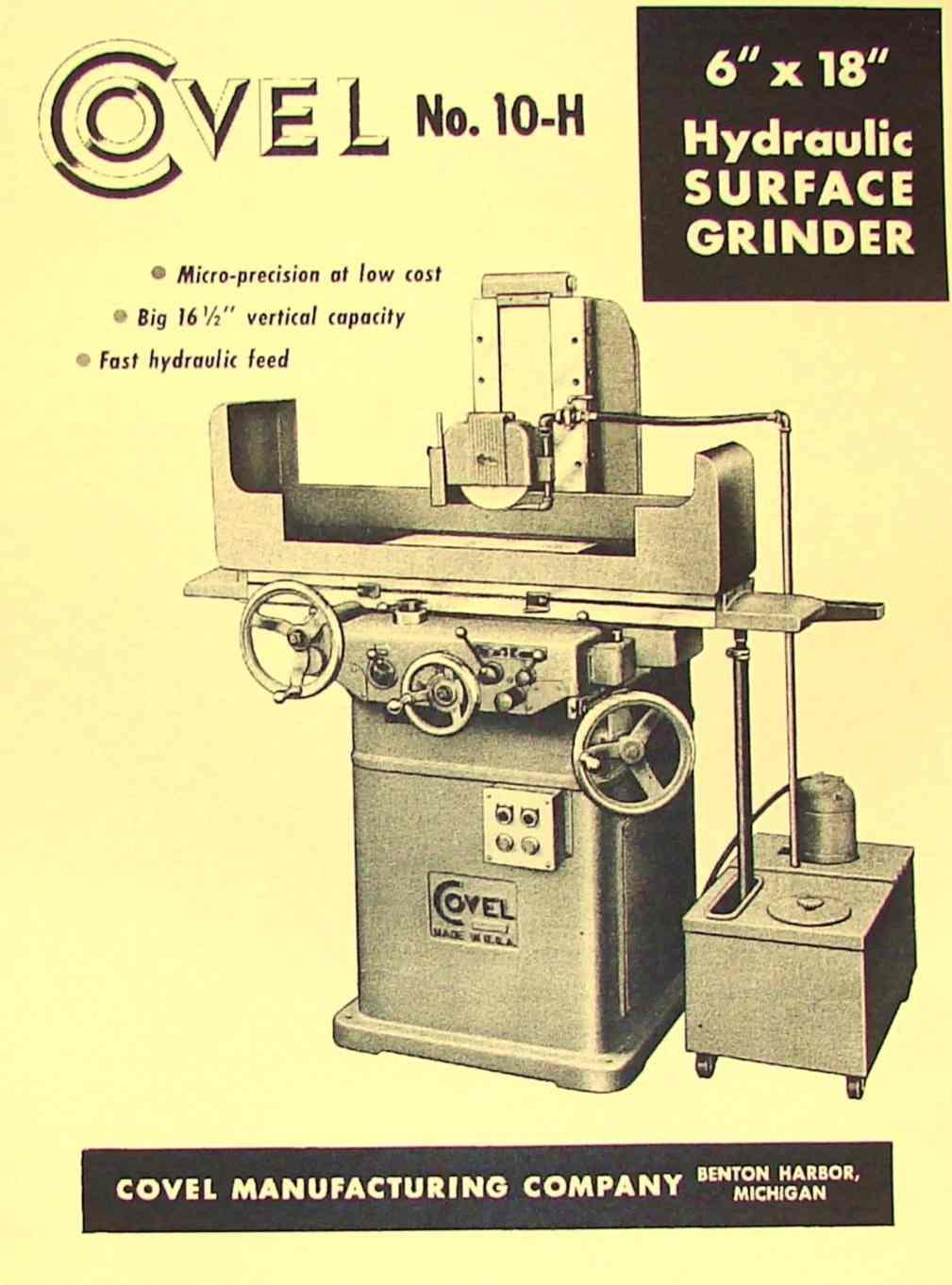 covel no 10h 618 surface grinder 6x18 operator parts manual rh ozarktoolmanuals com reid 618 surface grinder parts harig 618 surface grinder parts