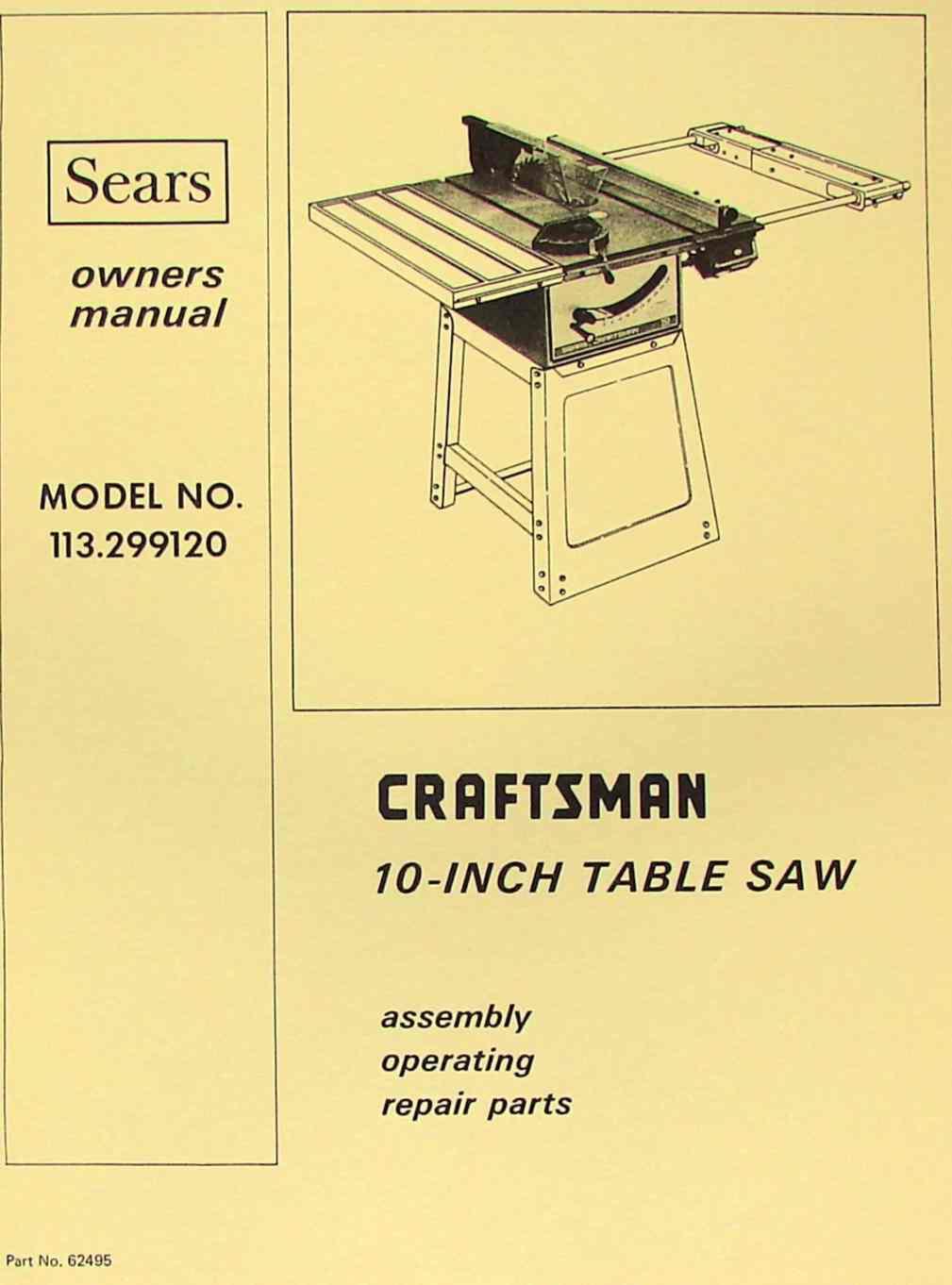 "CRAFTSMAN 10"" Table Saw 113.299120 Operator & Parts Manual | Ozark Tool  Manuals & Books"