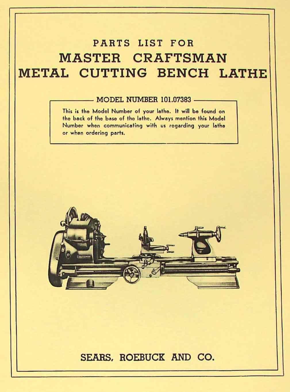 Craftsman 101 07383 Metal Lathe Parts Manual With Threading Chart