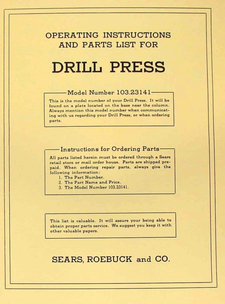 craftsman 10 drill press manual